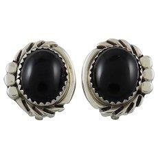 Black Onyx Sterling Silver Southwestern Clip Style Earrings