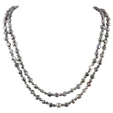 Silver Gray Freshwater Cultured and Enhanced Color Pearl Necklace