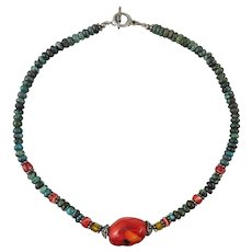 Turquoise Heishi and Red Coral Necklace