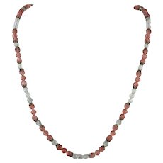 Pink and Clear Faceted Crystal Bead Necklace