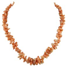 Polished Salmon Pink Big Branch Coral Necklace