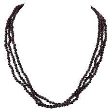 3 Strand Translucent Red Garnet Necklace