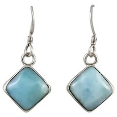 Larimar and Sterling Silver Square Dangle Earrings