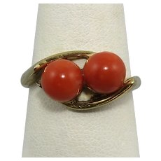 Momo Red Salmon Coral Ring 14K Vermeil