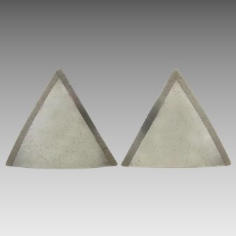 Sterling Silver Domed Triangle Earrings