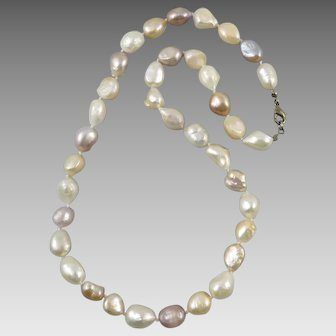 Large Baroque Freshwater Cultured Keshi Pearl Necklace