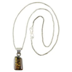 Baltic Amber and Sterling Silver Pendant Necklace