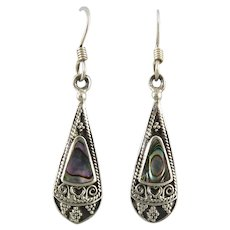 Sterling Silver and Abalone Dangle Style Earrings