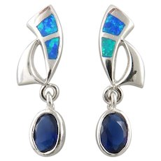 Sterling Silver with Opal and Sapphire Simulants Earrings
