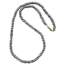 Cultured Peacock Pearl Enhanced Purple Gray Blue Necklace