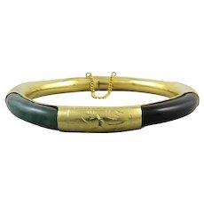 Chinese Multi Gemstone Hinged Bangle Bracelet