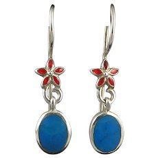 Enameled Flower and Blue Stone Sterling Silver Earrings