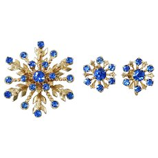 Blue Rhinestone Snowflake Brooch and Earrings Set
