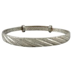 Sterling Silver Engraved and Etched Bangle Bracelet