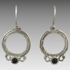 Faceted Black Onyx and Sterling Silver Earrings