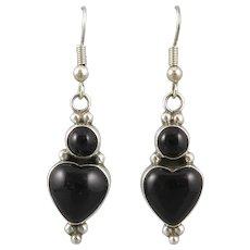 Black Onyx Heart Dangle Sterling Silver Earrings