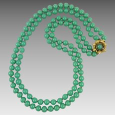 2 Strand Green Peking Glass Necklace with Matching Clasp by Laguna