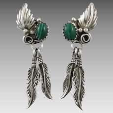 Malachite and Sterling Silver Feather Dangle Earrings