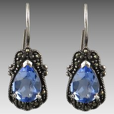 Marcasite and Blue Faceted Glass Sterling SiIver Earrings