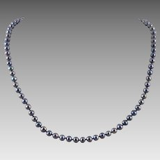 14K Cultured Freshwater Black Pearl Necklace