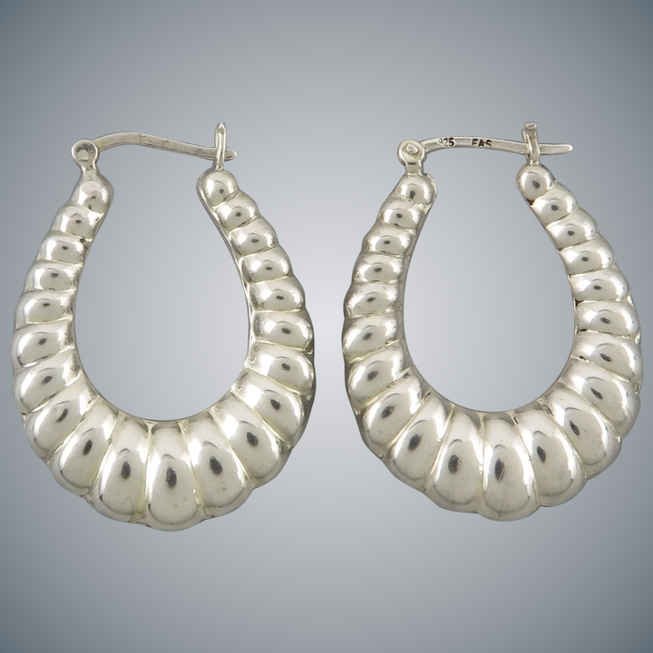 3e784f1c1 Puffy Shrimp Style Sterling Silver Hoop Earrings : TingaLing | Ruby Lane