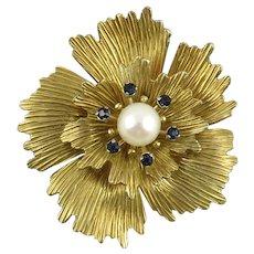 Vintage Krementz Cultured Pearl Flower Brooch