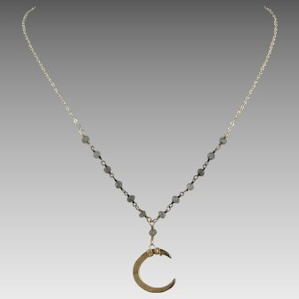Crescent Moon and Labradorite Necklace 14K Gold Fill