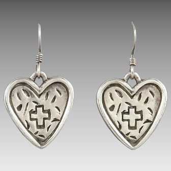 Sterling Silver Hearts with Crosses Dangle Earrings