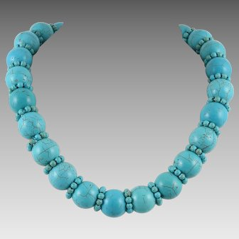Large Bead Turquoise Magnasite Necklace