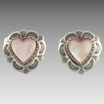 Sterling Silver Pink Mother of Pearl Heart Earrings