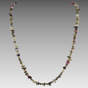 Polished Gemstone Chip Bead Necklace