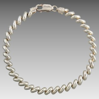 Puffy Sterling Silver San Marco Link Bracelet