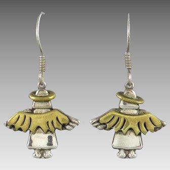 Mixed Metal Sterling Silver Angel Earrings