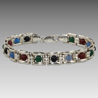 Sterling Silver Gemstone Panel Link Bracelet Carnelian Onyx Chalcedony