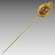 Edwardian Ornate Stick Pin With Golden Amber Color Glass
