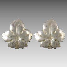 Sterling Silver Leaf Earrings Screw Back Style