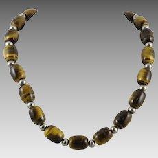 Tiger Eye Agate Big Barrel Bead Necklace