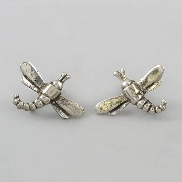 Sterling Silver Dragonfly Earrings Back Style