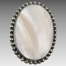 Mother of Pearl and Sterling Silver Brooch