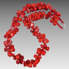 Red Coral Teardrop Bead Necklace