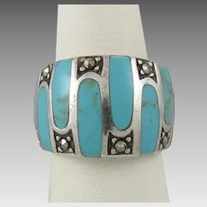 Sterling Turquoise and Marcasite Ring