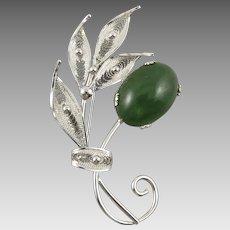 Jade and Sterling Silver Filigree Flower Brooch