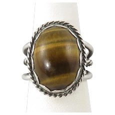 Tiger Eye Agate Sterling Silver Ring