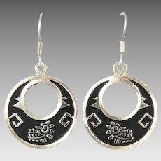 950 Silver Quetzalcoatl Hoop Earrings
