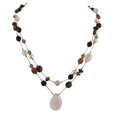 Double Strand Multi Gem Necklace Rose Quartz, Rhodonite, Smoky Quartz, Cultured Pearl