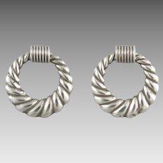 Sterling Silver Wreath Door Knocker Earrings