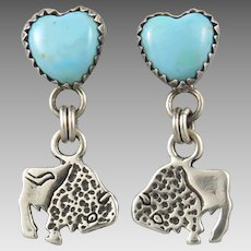 Turquoise Heart and Buffalo Dangles Sterling Silver Earrings