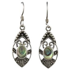 Abalone and Sterling Silver Dangle Earrings