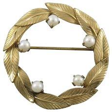 Wreath Brooch with Cultured Pearls 12K GF