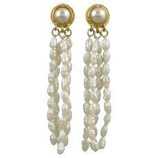 Cultured Freshwater Pearl Fringe Cascade Earrings